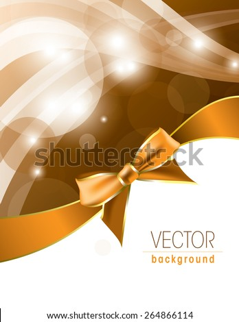 Abstract orange background with sparkles and a bow. - stock vector