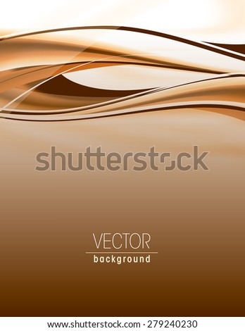 Abstract orange background with wavy lines. - stock vector