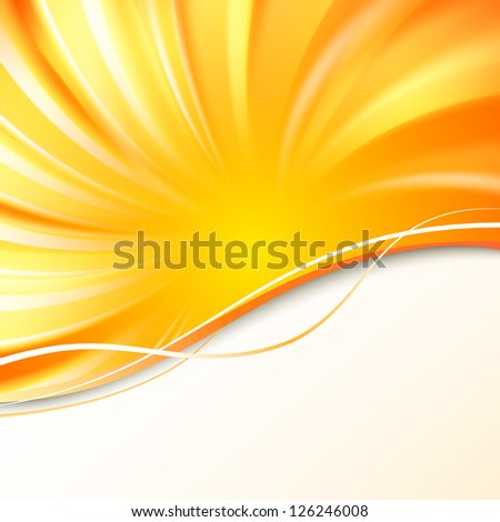Abstract orange cover with smooth lines. Vector illustration, eps 10, contains transparencies. - stock vector