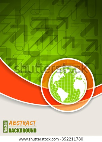 Abstract orange green brochure with arrows and globe - stock vector