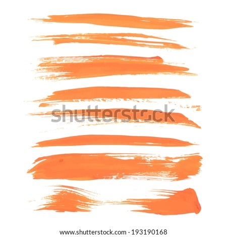 Abstract orange long strokes of paint  - stock vector