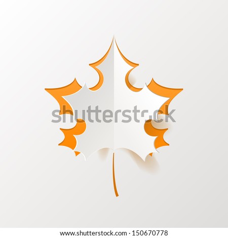 Abstract Orange Maple Leaf Isolated on White Background - stock vector