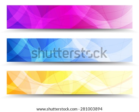 Abstract Orange Purple and Blue Web Banners Background - stock vector