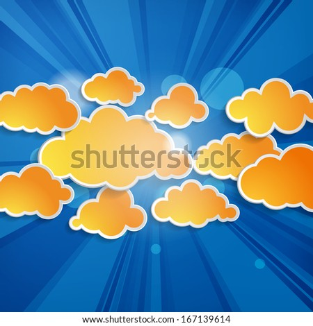 Abstract orange speech bubbles in the shape of clouds with rays on a blue background