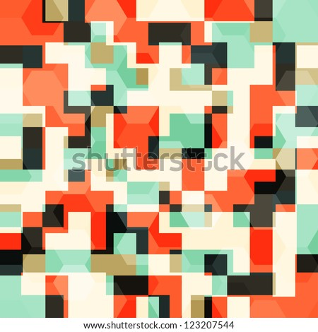 abstract orange squares seamless pattern - stock vector