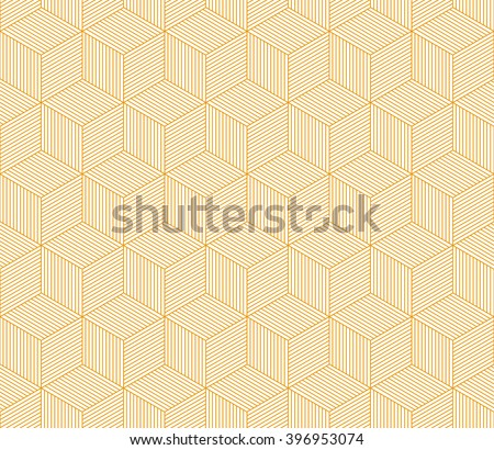 Abstract orange striped 3d cubes geometric seamless pattern, vector - stock vector