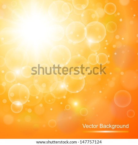 Abstract orange sunny background, vector illustration. - stock vector