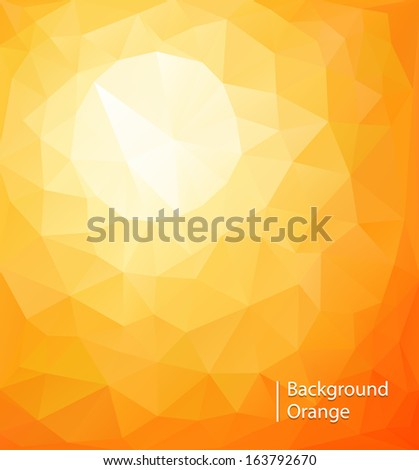 Abstract orange sunny background, vector triangle mosaic design. - stock vector