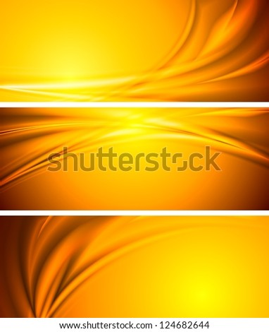 Abstract orange sunny banners. Vector background eps 10 - stock vector