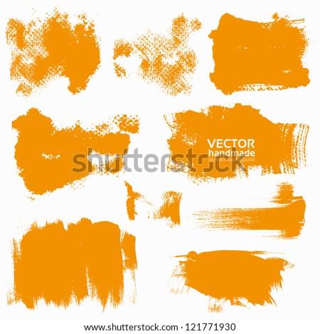 Abstract orange vector set backgrounds draw by brush and ink - stock vector