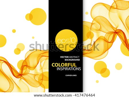 Abstract orange wavy lines.  Colorful vector background. - stock vector
