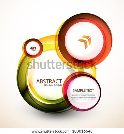 Abstract orange web banner made of circles - stock vector
