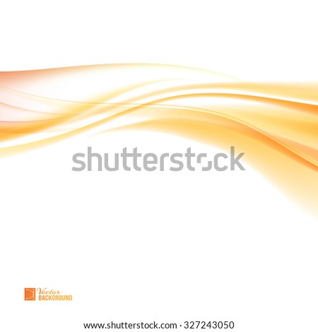 Abstract orange wind. Colorful smooth light lines background. Tender orange light abstract background.  Vector illustration, contains transparencies, gradients and effects. - stock vector