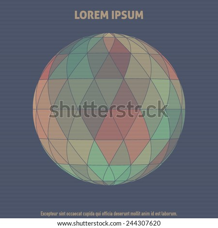 Abstract orb textured by color triangles on a striped dark blue background. Vector - stock vector