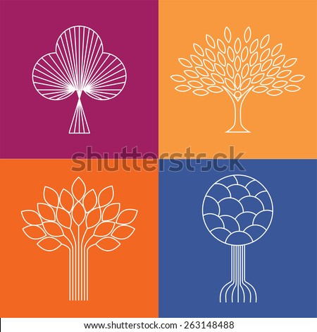abstract organic tree line icons logo vectors - eco & bio design element badges. This set also represents plants & growth, nature & conservation - stock vector