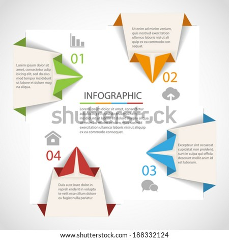 Abstract origami arrow infographics template - stock vector