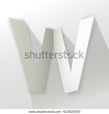 "Abstract Origami Bold Typeface Vector Design of a Number ""W"" Character Font for Your Decorative Branding Text"