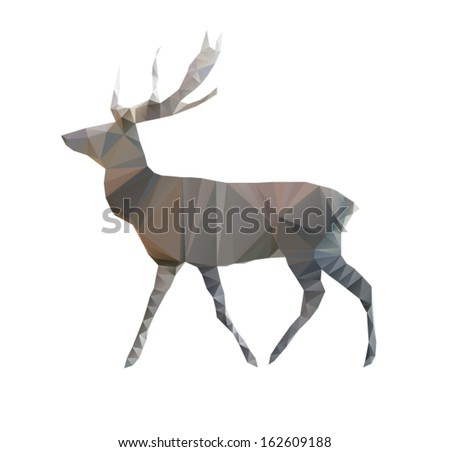 Abstract origami geometric deer made of triangles , isolated on a white background, vector illustration - stock vector