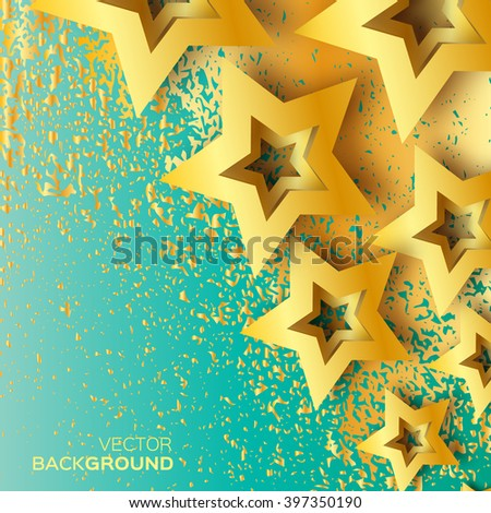 Abstract Origami Gold Stars on blue vector background. Cosmic falling shining stars. Trendy Illustration for design - stock vector