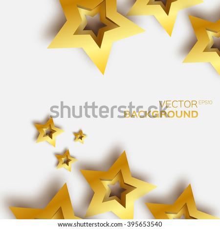 Abstract Origami Gold Stars on white vector background. Cosmic falling shining stars. Trendy Illustration for design - stock vector