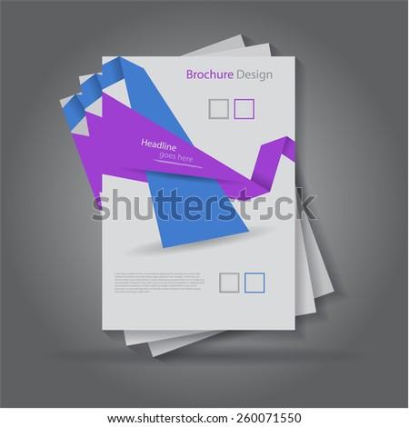 Abstract origami paper cut brochure / flyer design, eps10 Vector.  - stock vector