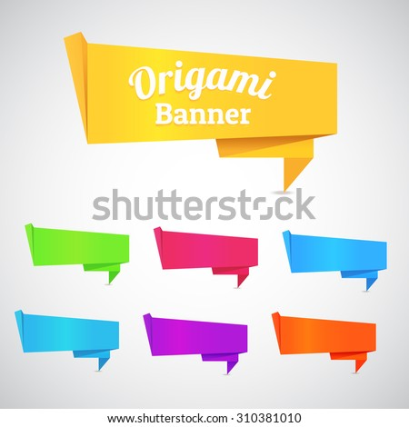 Abstract origami speech bubble banner vector color set background. Eps 10 - stock vector