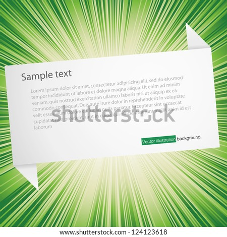 abstract origami speech bubble from paper with burst background - stock vector