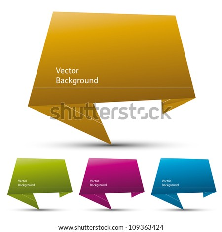 Abstract origami speech bubble vector background, color versions set. - stock vector