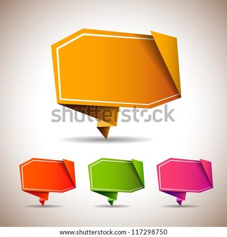 Abstract origami speech bubble - vector backgrounds set - stock vector