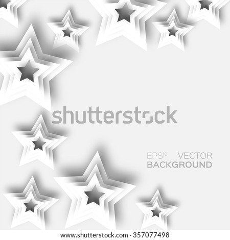 Abstract origami white paper stars background. 3d paper design elements.  Vector illustration eps10. Starry sky applique elements. Pop up template. - stock vector