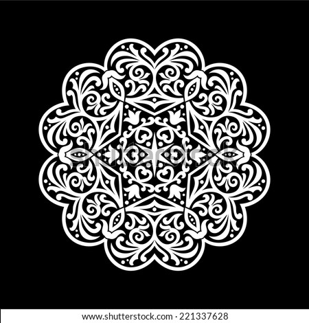 Abstract ornament, stencil round pattern, cut out design, decor element, vector illustration - stock vector