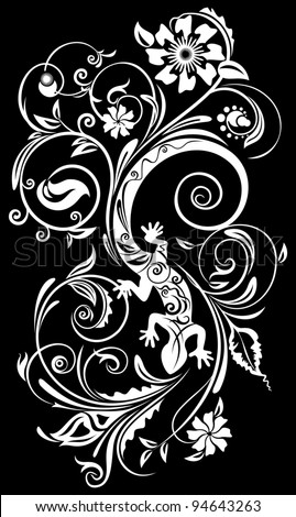 Abstract ornament with a lizard. silk-screen printing - stock vector