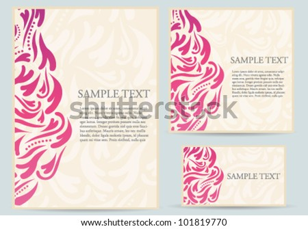 Abstract Ornate Card Template Set - stock vector
