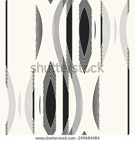 Abstract ornate refracted petal and wavy stripe. Seamless pattern. Vector. - stock vector