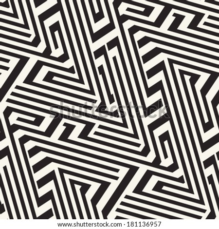 Abstract ornate striped textured geometric seamless pattern. Vector.