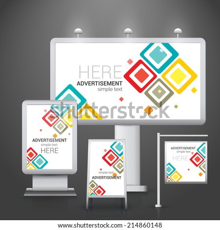 Abstract outdoor commercial advertising boards design template vector illustration. - stock vector