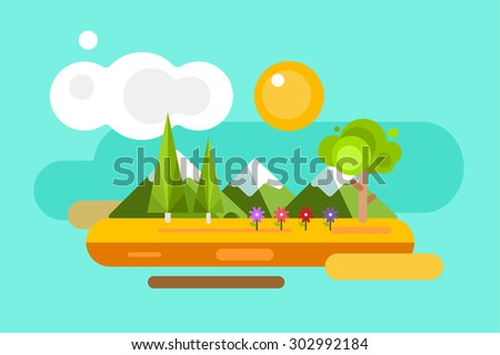 Abstract outdoor summer landscape. Trees and nature signs or outdoor, mountains, river or lake, sun, clouds, flowers, cave. Design elements - stock vector