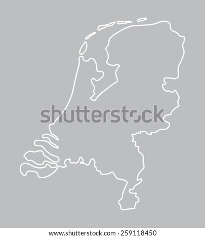 abstract outline of Netherlands map - stock vector