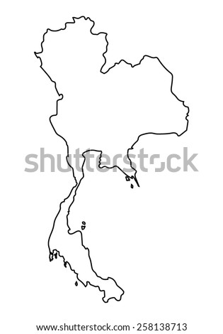 Abstract Outline Thailand Map Stock Vector Shutterstock - Thailand blank map