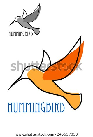 Abstract outline sketch of flying hummingbird with orange plumage and blue caption Hummingbird above them smaller duplicate in gray tones for logo or emblem design - stock vector