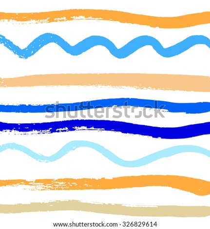 Abstract paint pattern with ink lines. Vector background with brushes strokes - stock vector