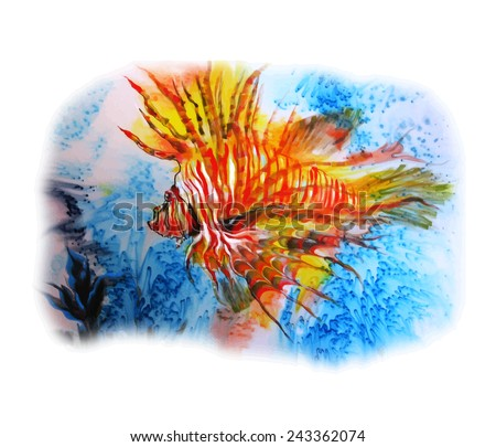 Abstract painting on silk with two fish. Original hand painted.