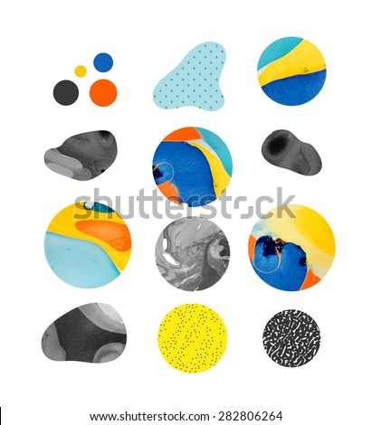 Abstract painting template with different shapes. Handmade texture - stock vector