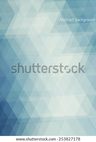 Abstract pale blue background textured by triangles. Vertical vector pattern - stock vector
