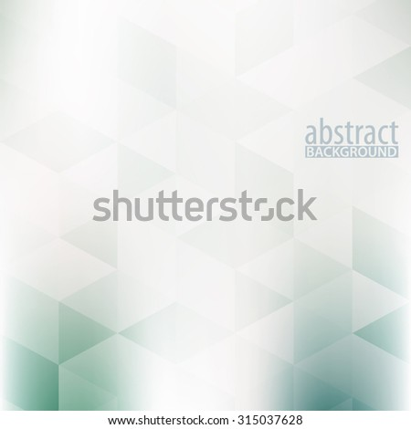 Abstract pale green and grey background textured by triangles. Subtle vector pattern - stock vector