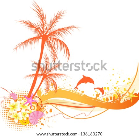 Abstract palm tree with ocean elements - seashells, starfish, dolphins in orange colors