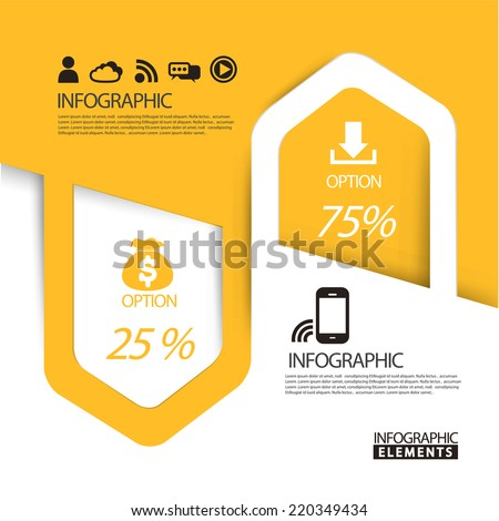 abstract paper arrow infographic elements template in yellow - stock vector
