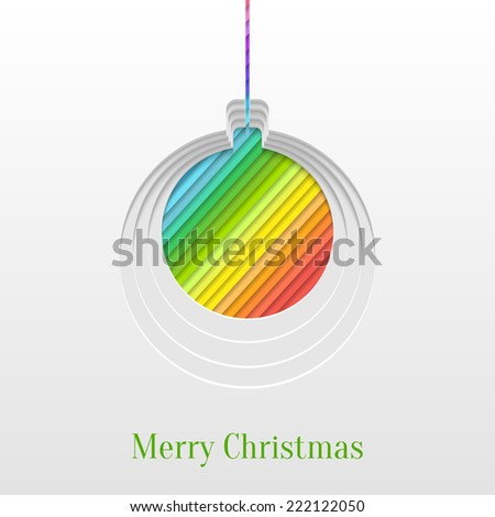 Abstract Paper Cut Christmas Ball Background, Trendy Greeting Card or Invitation Design Template - stock vector