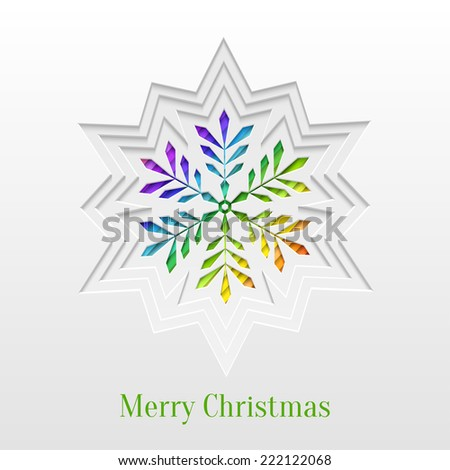 Abstract Paper Cut Christmas Snowflake Background, Trendy Greeting Card or Invitation Design Template - stock vector