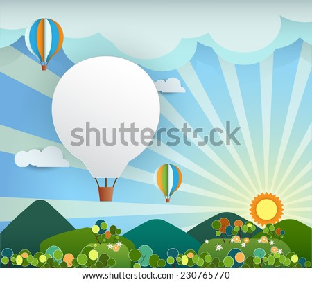 Abstract paper cut with sunshine- cloud,hill,trees and balloon on light blue background with blank balloon for place your text design.Flat design style for spring card - stock vector